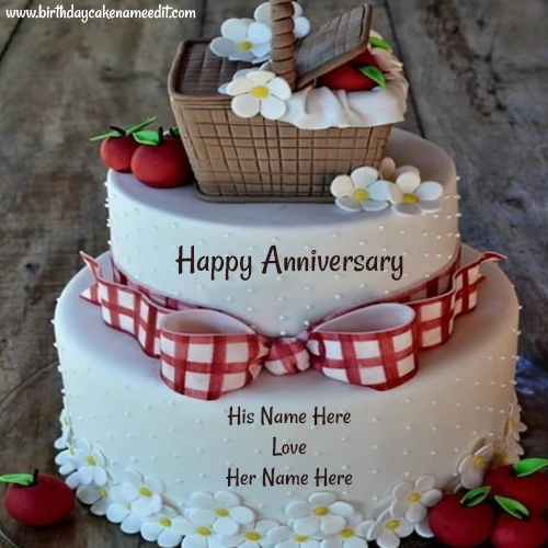 Beautiful White and Red Hearts Anniversary Chocolate Cake with Name