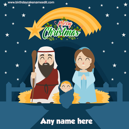 Bright Stars Merry Christmas card with name