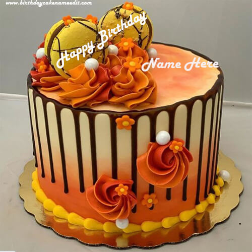 Colourful Flower Happy Birthday Cake with Name Edit
