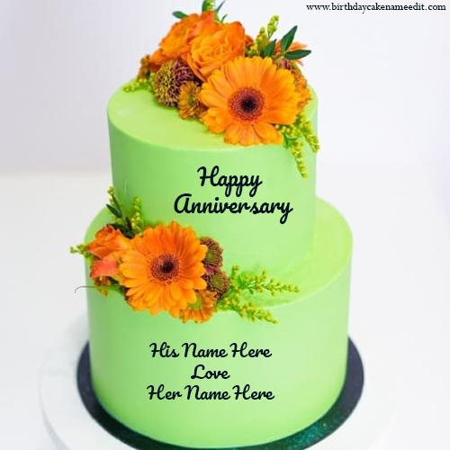 Create Happy Anniversary Cake with Couple Name