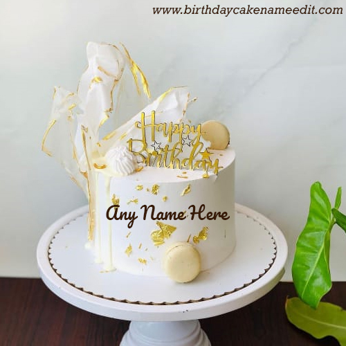 Create Happy Birthday wishes cake with name greeting