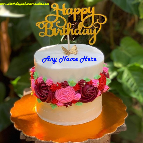 Flower Decorated Happy Birthday Cake with Name Edit