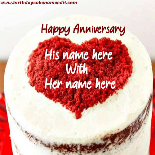Free Edit Happy Anniversary Heart Cake with Name