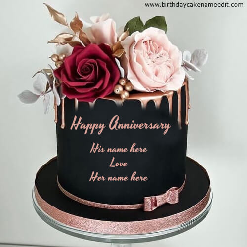 Happy Anniversary Cake Images with Flowers and Name Edit