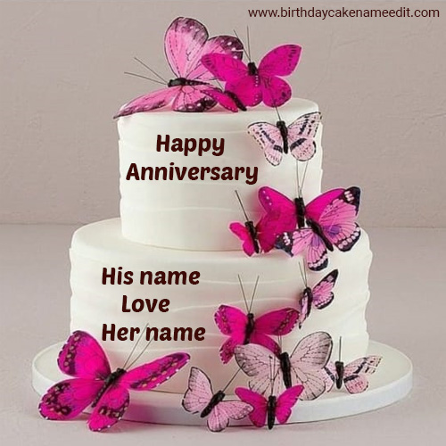 Happy Anniversary Cake with Couple Name edit