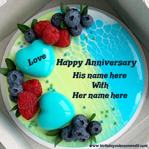 Happy Anniversary Cake with His Name and Her Name