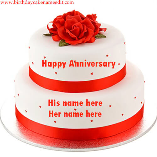 Happy Anniversary Cake with Name photo edit