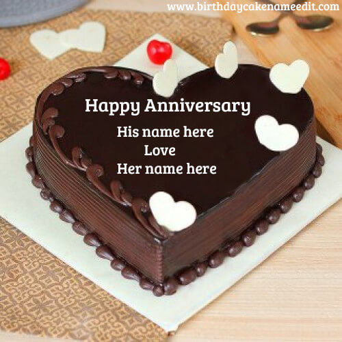Happy Anniversary Chocolate Cake with Name - Birthdaycakenameedit.com