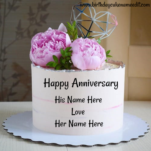 Happy Anniversary Rose Cake with Couple Name