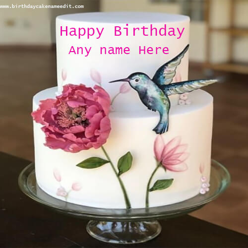 Happy Birthday Bird and Flower Cake with Name Edit