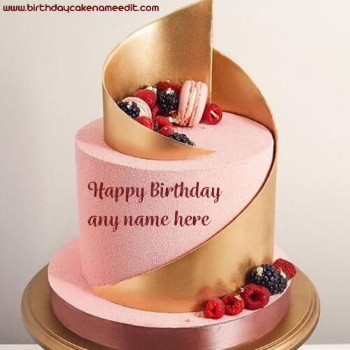 Happy Birthday Biscuit Strawberry Cake with Name Edit