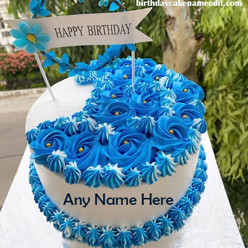 Happy Birthday Blue Cake with Name Edit