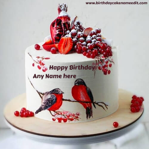 Happy Birthday Cake with Birds on Them and Name Edit Option