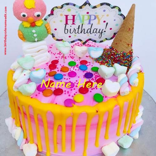 Happy Birthday Cartoon Gems Cake with Name Edit