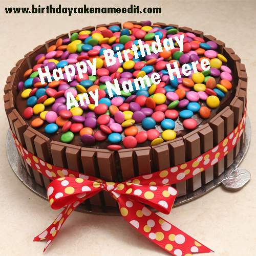 Happy Birthday Chocolate Gems Cake with Name Edit