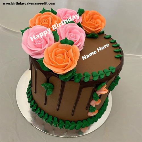 Happy Birthday Colorful Cake Wishes with Name Edit