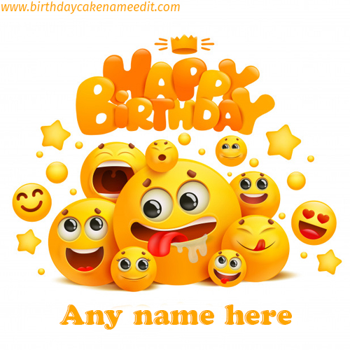 Happy Birthday Emoji card with Name Edit