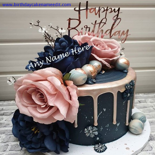 Happy Birthday Flower Cake Wishes with Name Edit