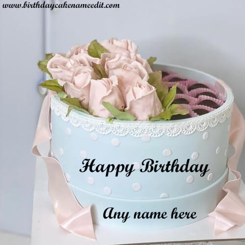 Happy Birthday Flower Cake with Name Edit
