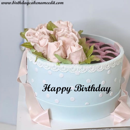 Admirable Happy Birthday Flower Cake With Name Edit Funny Birthday Cards Online Barepcheapnameinfo