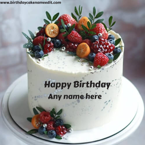Happy Birthday Fruit Cake with Name Edit