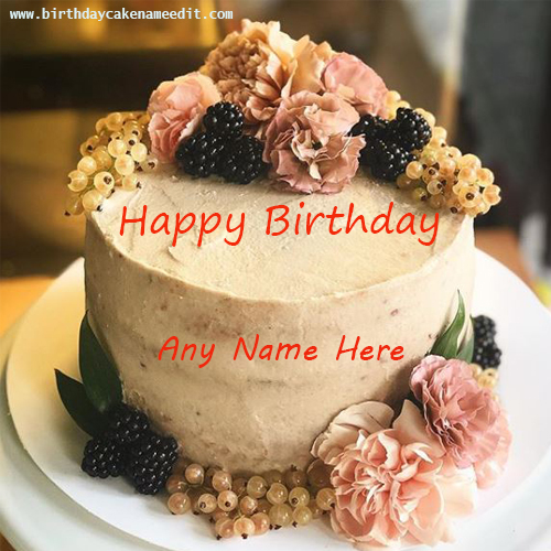 Happy Birthday Fruit and Flowers Cake with Name Edit