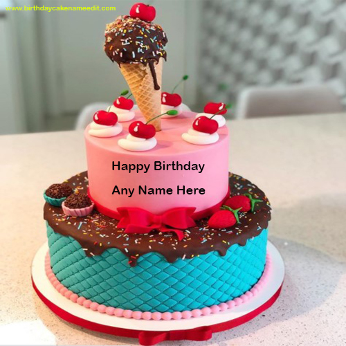 Happy Birthday Ice Cream Cone Cake with Name