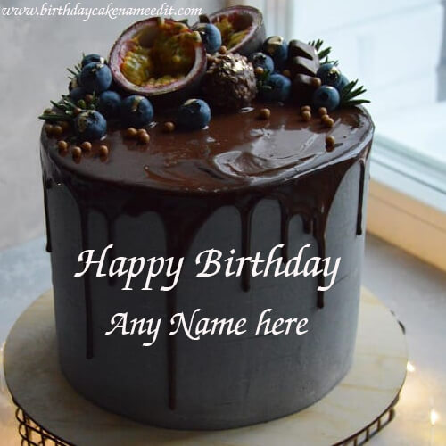 Happy Birthday Lava Chocolate Cake with Name Edit