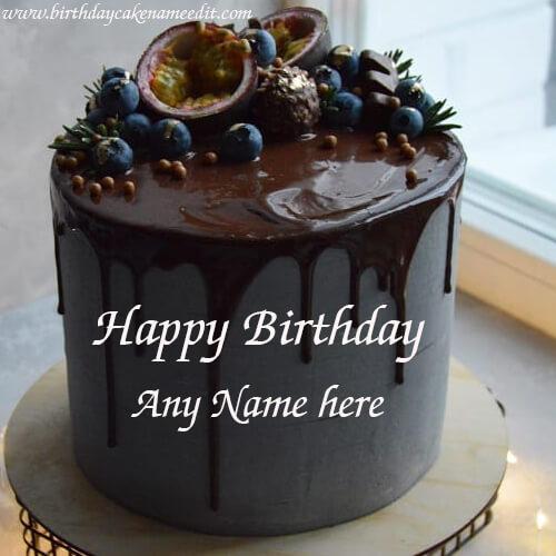 Happy Birthday Lava Chocolate Cake with Name Edit
