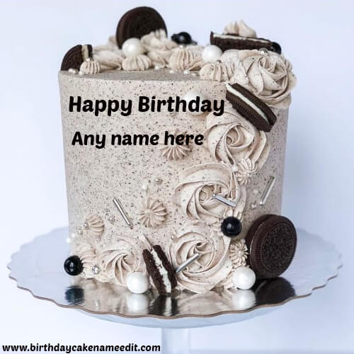 Happy Birthday Oreo Cake with Name Edit Online