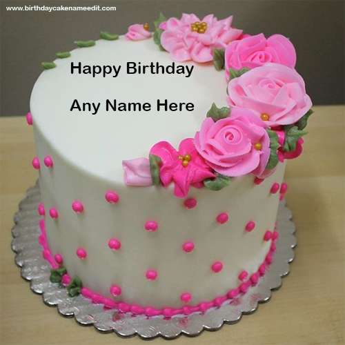 Happy Birthday Pink Flower Cake with Name Edit