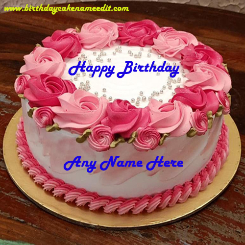 Happy Birthday Pink Rose Cake with Name Edit