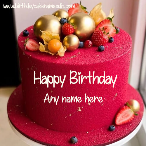 Happy Birthday Red Strawberry Cake with Name Edit