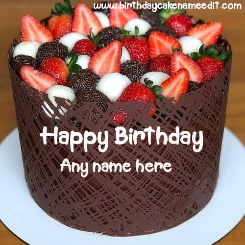 Happy Birthday Strawberry Cake with Name Edit