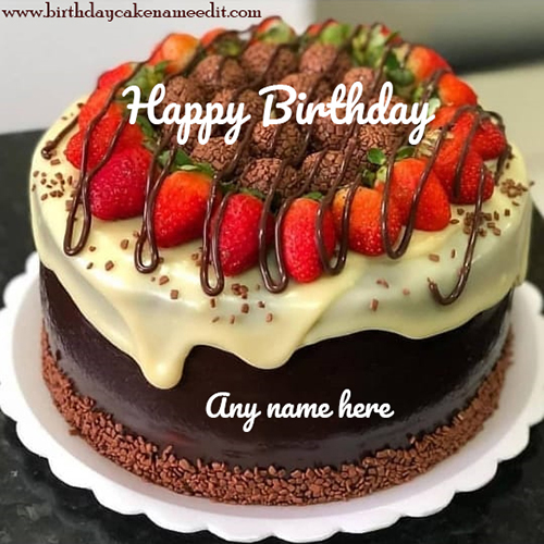Happy Birthday Strawberry Cake with name edit option