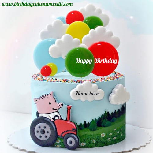Happy Birthday Toy Cake with Name Edit Online