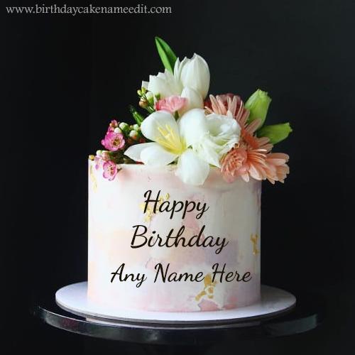 Happy Birthday flowers Wish Cake with Name Editor