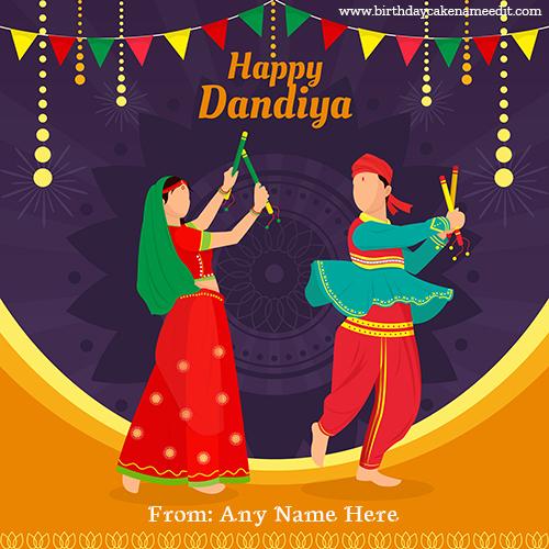 Happy Dandiya celebration with Name editor