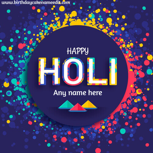 Happy Holi Wishes Greeting Card with Name