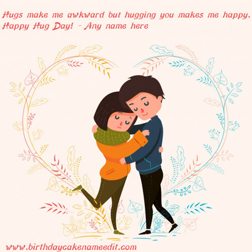 Happy Hug Day Wishes Quotes with Name