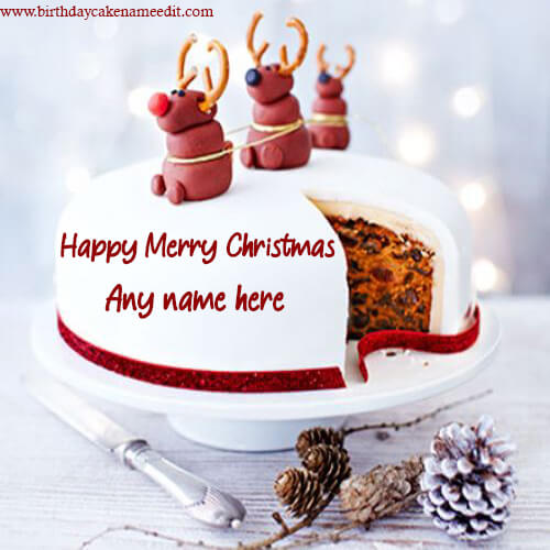 Happy Merry Christmas cake with Name pic