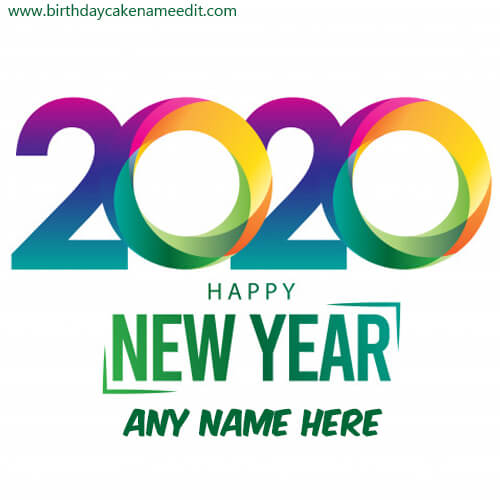 Happy New Year 2020 with name Image online create greeting card