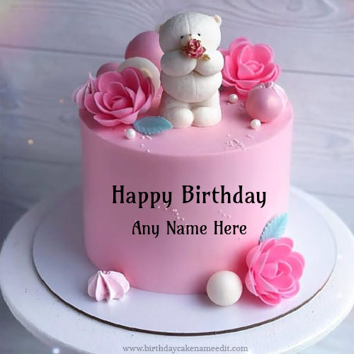 Happy Pink Birthday Cake With Name Edit