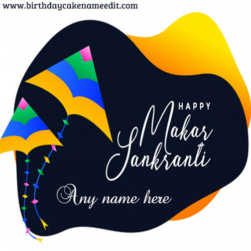 Happy Uttarayan Festival Wishes with Your Name