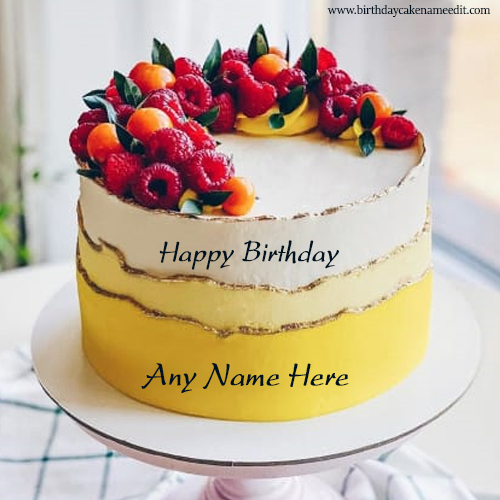 Happy birthday full of strawberry card with name