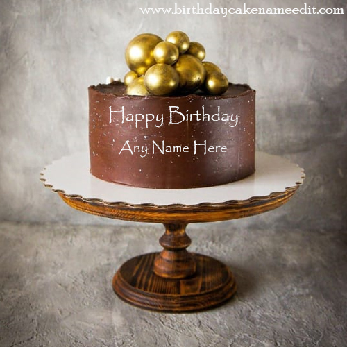 Happy birthday royal chocolet gold cake image card with name