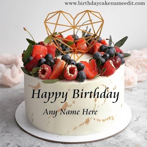Happy birthday strawberry and black cherry cake with name