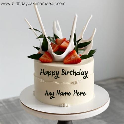 Happy birthday white classy cake with name