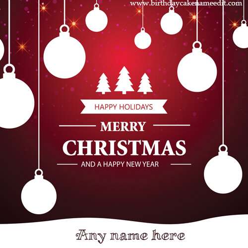 Merry Christmas and Happy New Year Card with Name