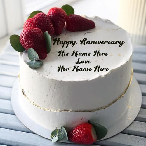 Online Happy Anniversary Strawberry Cake with Name Edit